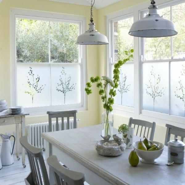 Fensterdeko Sichtschutzfolie glastüren selbstklebend elegant rustikal