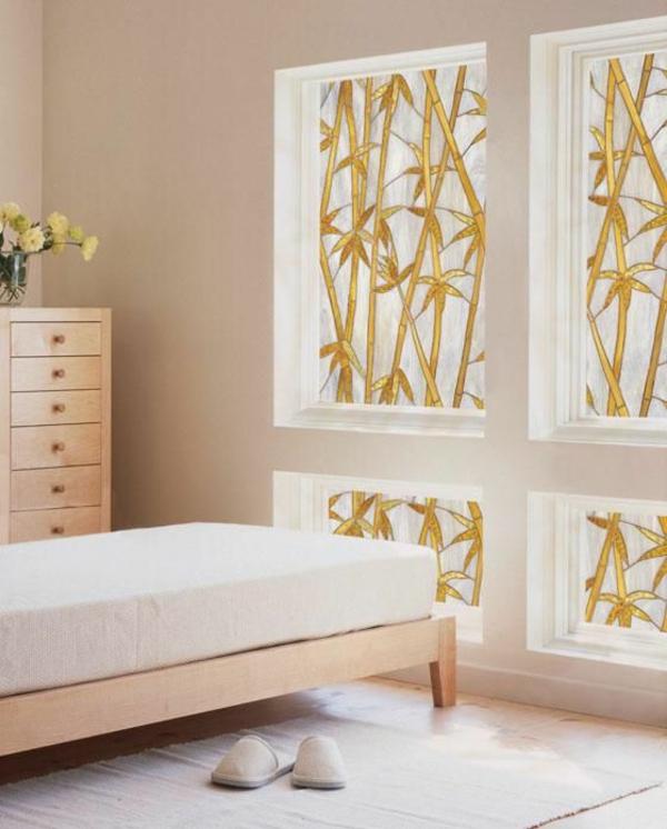 Fensterdeko Sichtschutzfolie glastüren selbstklebend elegant schlafzimmer