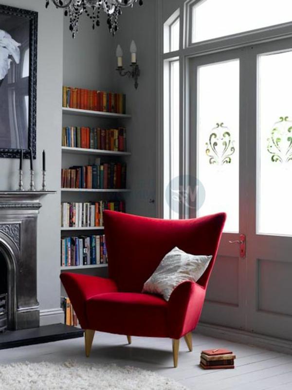 glastüren selbstklebend Fenster Sichtschutzfolie elegant sessel rot