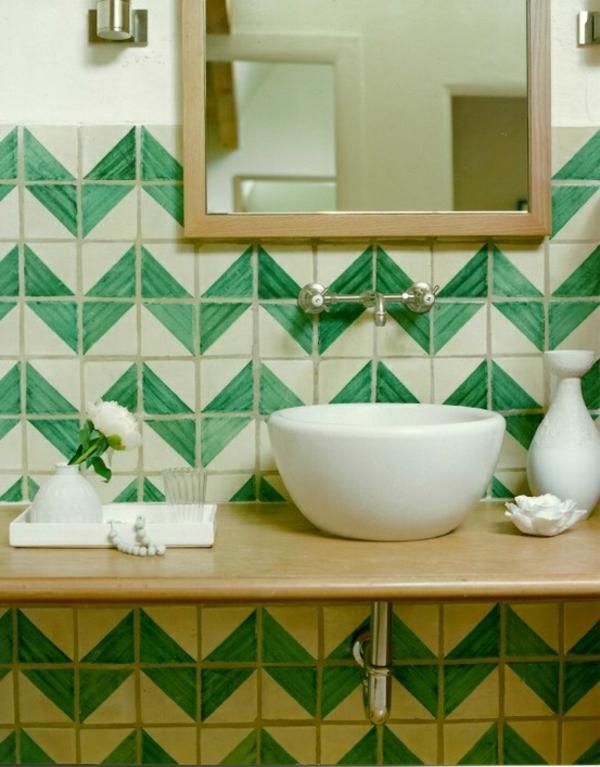 Fliesenlack und Fliesenfarben chavron muster grün weiß