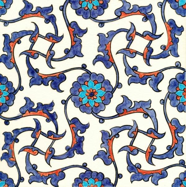 Fliesenlack Fliesenfarben formen blumenmuster blau
