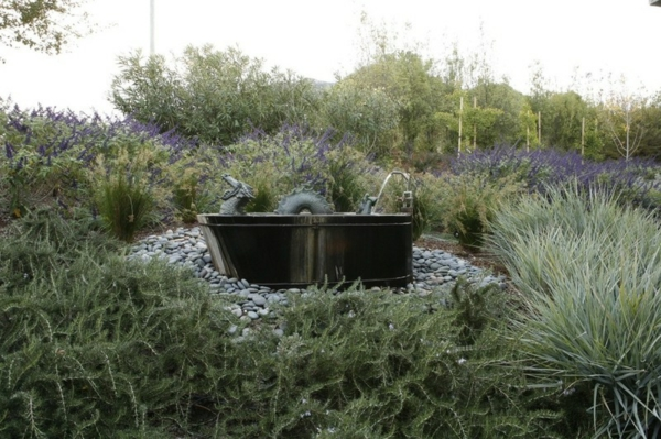 Gartengestaltung ideen mit kies bad freistehende badewanne