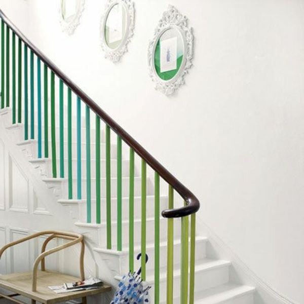 Geländer selber haus bauen eigenartig kunstvoll farbig