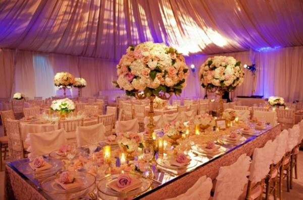 blumen beleuchtung hochglanz auffallend Hochzeit tischdeko