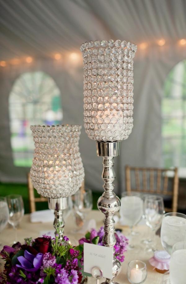 blumen beleuchtung hochglanz gläser Hochzeit tischdeko