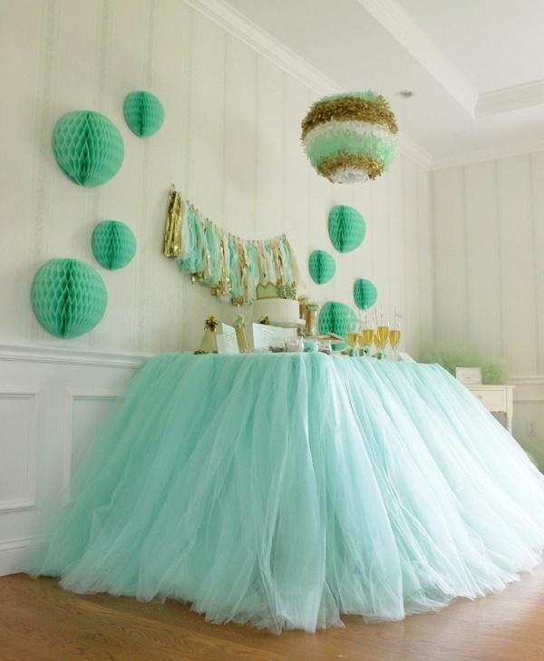 Hochzeit tischdeko blumen beleuchtung hochglanz türkis