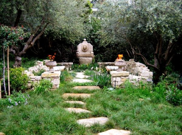 Ideen für Gartengestaltung mit steinen wasserspiele