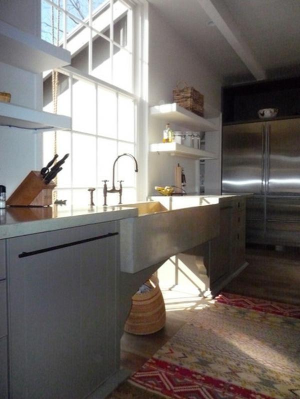 Kleine Küchen Ideen niedrige fensterbänke küchen unterschränke