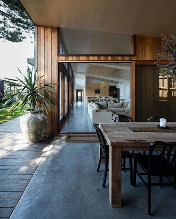 Holz Esstisch Stühle Wohnzimmer Kleines Haus Gras