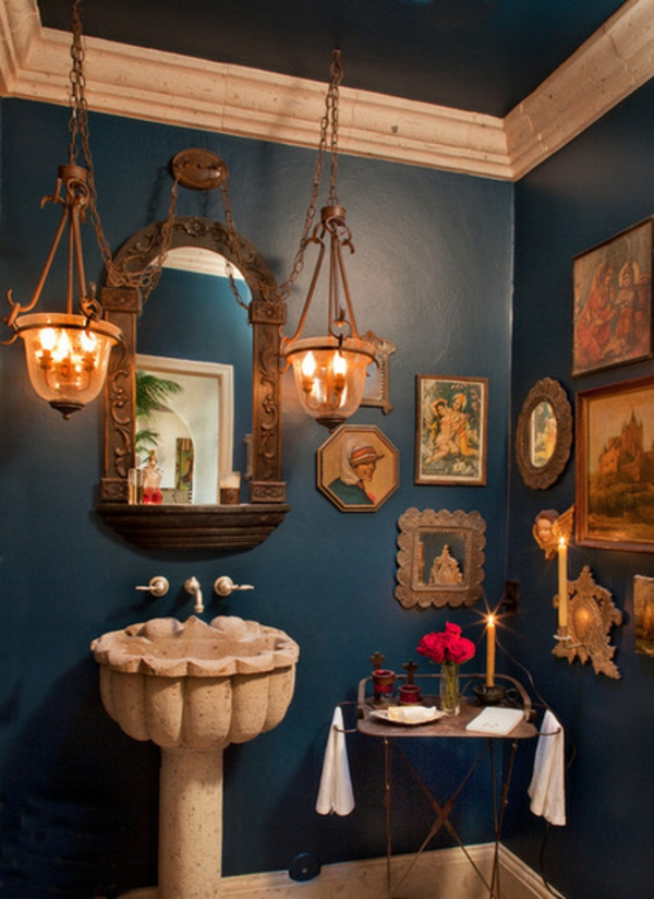 Luxus Badezimmer Deko dunkel damentoilette mediterran stil