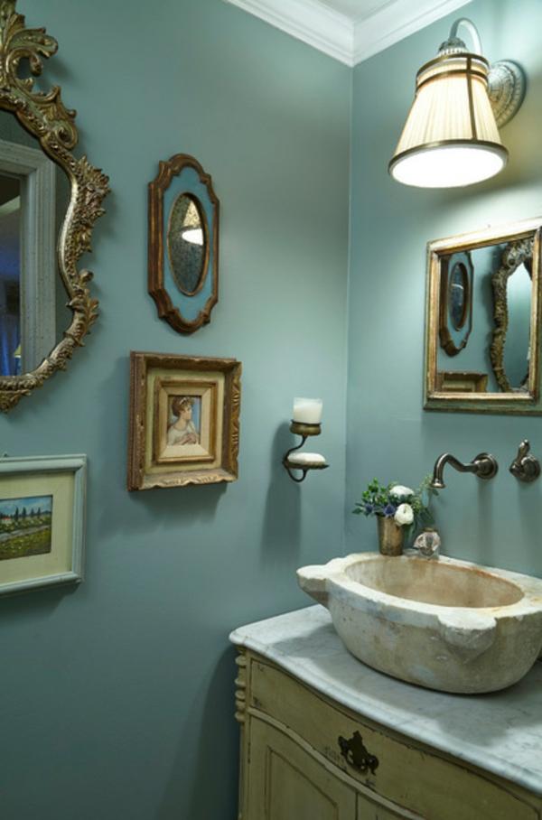 Luxus Badezimmer Deko dunkel damentoilette wanddeko gemälde