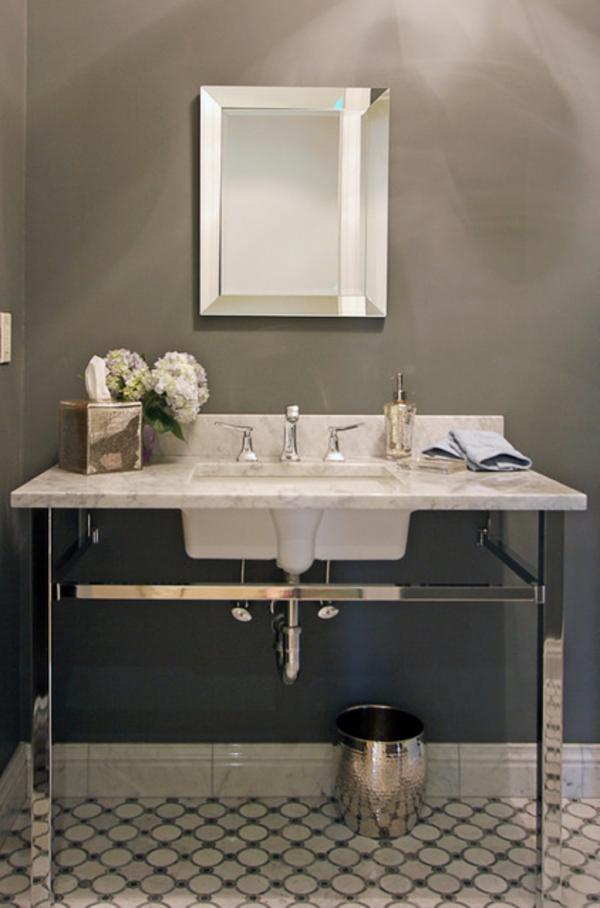 Luxus Badezimmer Deko dunkel damentoilette waschbecken marmor