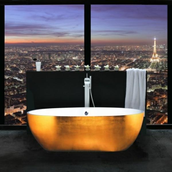 Luxus badezimmer design ideen goldene wanne dekoration