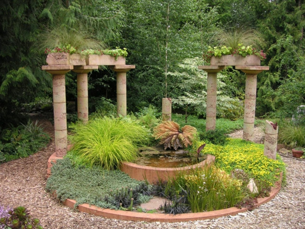 Mediterrane Gartengestaltung wasseranlagen pflanzen dürrefest pergola