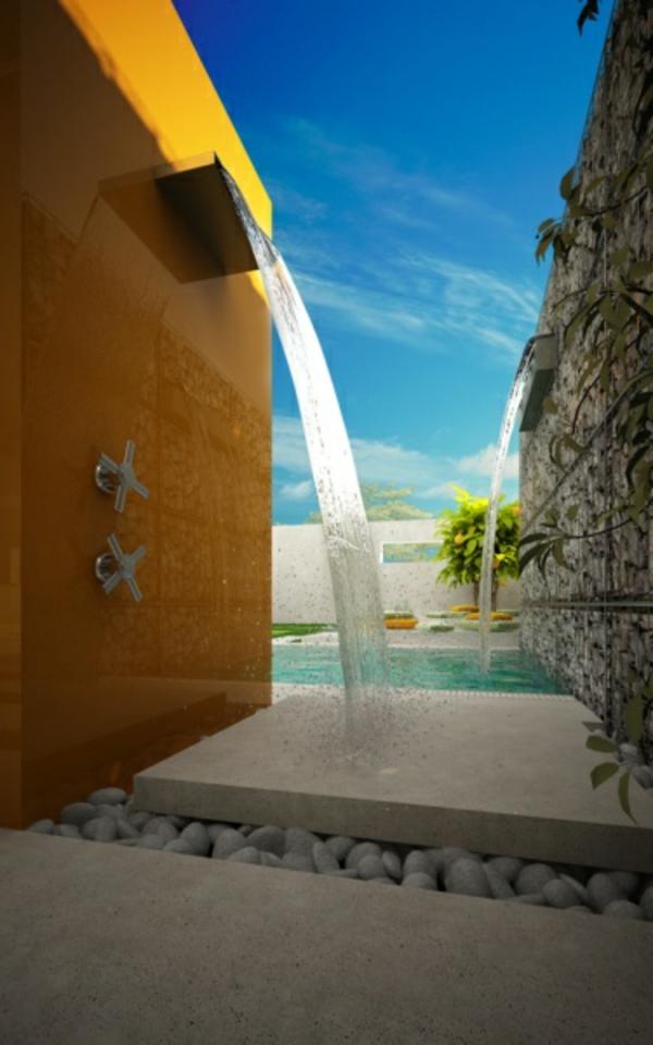Mediterrane Gartengestaltung wasserfall kiesel originell