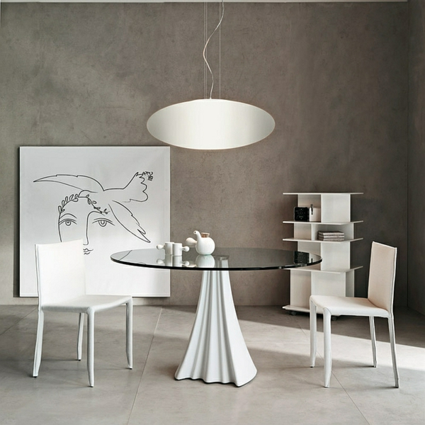 Moderne Esstische mit Stühlen pendelleuchten rund glas