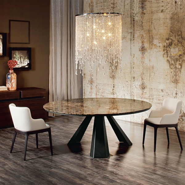 Moderne Esstische mit Stühlen rund marmor