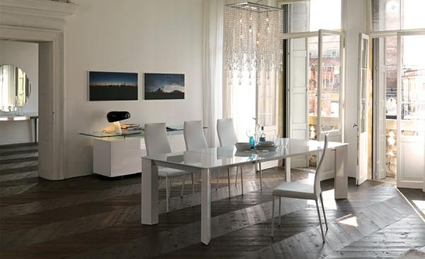 Moderne Esstische mit Stühlen weiß polsterung glas