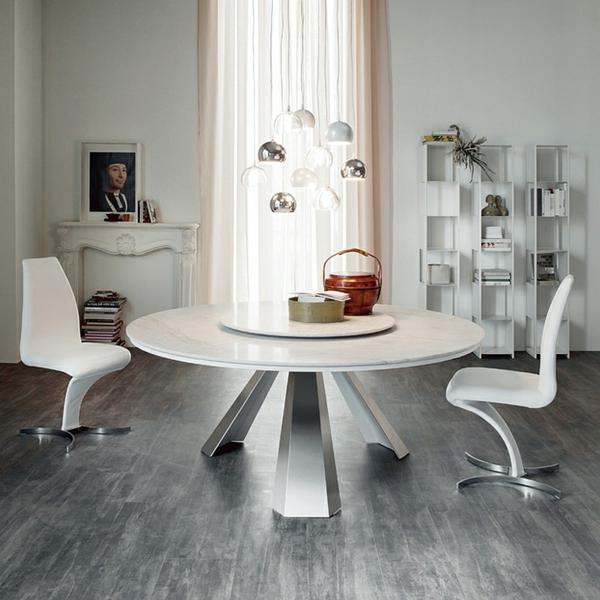 Moderne Esstische mi  Stühlen weiß rund