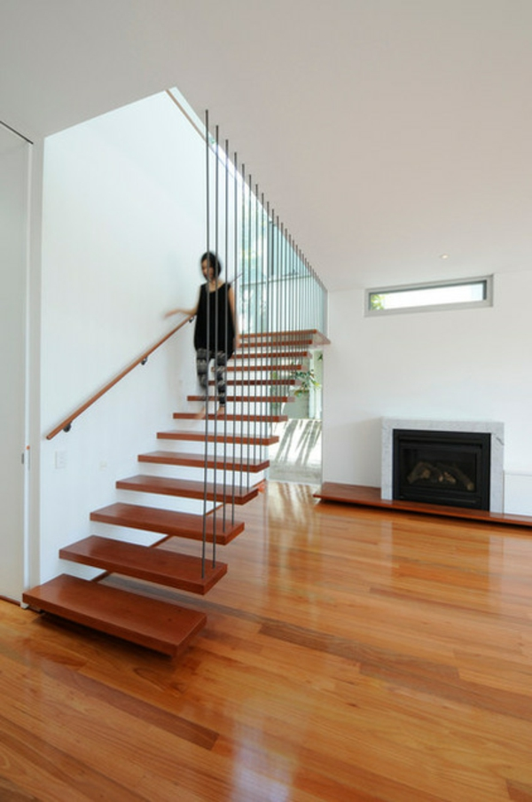 Moderne Holztreppen geländer schwebend bewegung