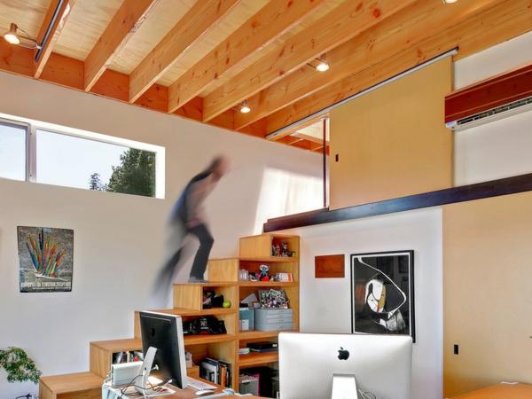 Moderne Holztreppen geländer stauraum schubladen