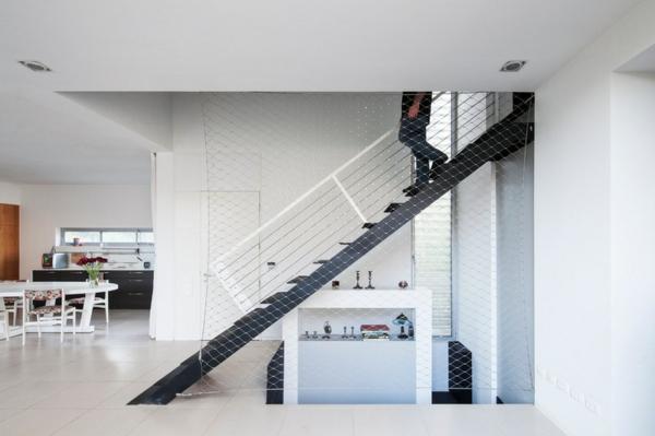 Moderne Holztreppen glas geländer gitter metall