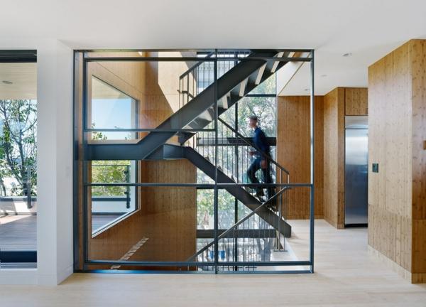 Moderne Holztreppen glas geländer metall geländer treppenhaus
