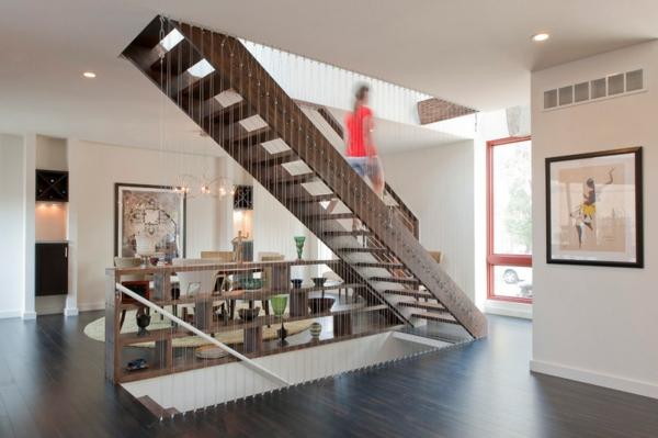 Moderne Holztreppen glas geländer trendy inneneinrichtung