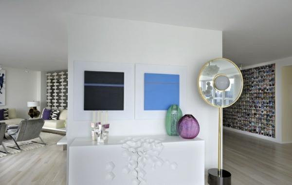 Modernes Wohnen eigenartig einrichtung ideen wandgestaltung blau
