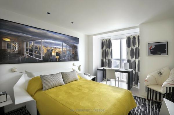 Modernes Wohnen eigenartig einrichtung ideen wandgestaltung gelb