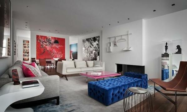 Modernes Wohnen eigenartig einrichtung ideen wandgestaltung rot