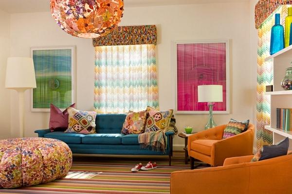Retro stil wohnzimmer design farbig sofa