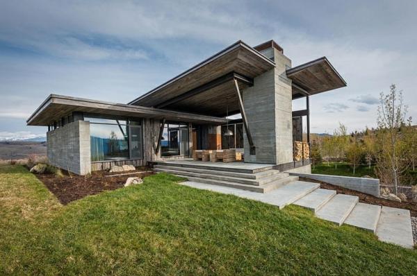 Rustikales exterior design zeitgenössische berghütte