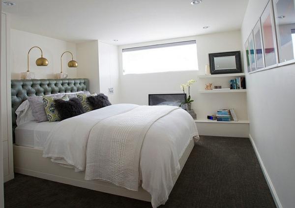 Schlafzimmer im Keller einrichten weich matratze weiß bettwäsche