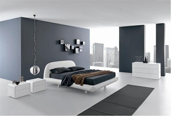 Schlafzimmer minimalistisch einrichten bettgestell weiß