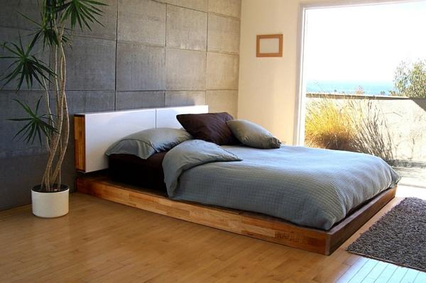 Schlafzimmer minimalistisch einrichten exotisch fußmatte weich