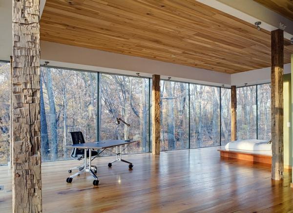 Schlafzimmer minimalistisch einrichten gebirge bürotisch rollen