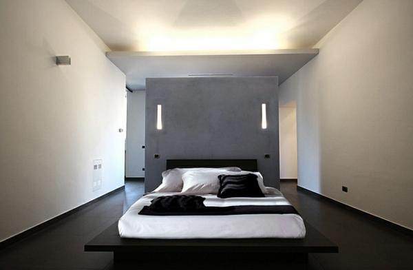 Schlafzimmer minimalistisch einrichten glanz beleuchtung