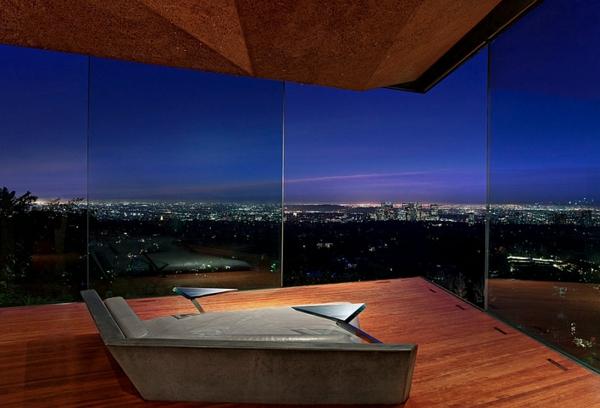Schlafzimmer minimalistisch einrichten glas bodenbelag holz