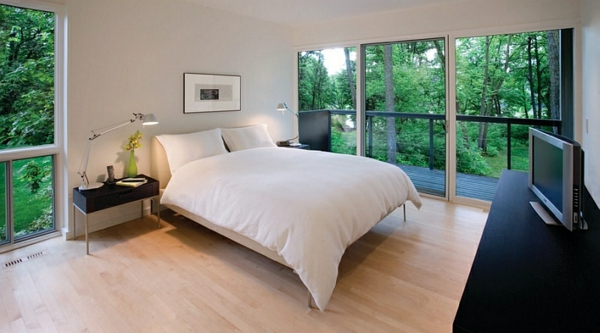 Schlafzimmer minimalistisch einrichten klein warm
