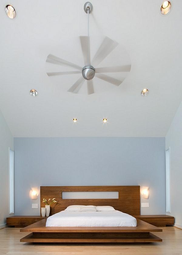 Schlafzimmer minimalistisch einrichten kopfteil bettgestell wandlampen