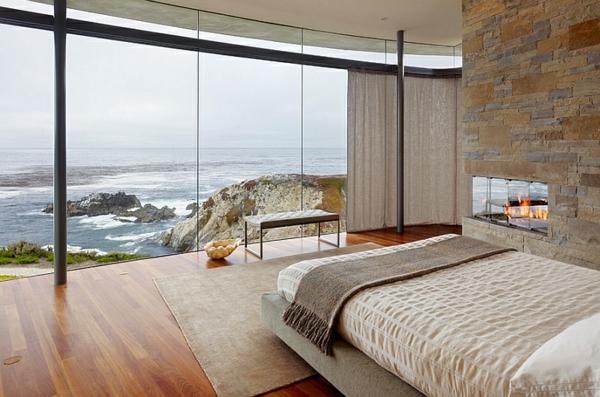 Schlafzimmer minimalistisch einrichten meer aussichten glas