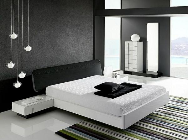 Schlafzimmer minimalistisch einrichten schwarz weiß