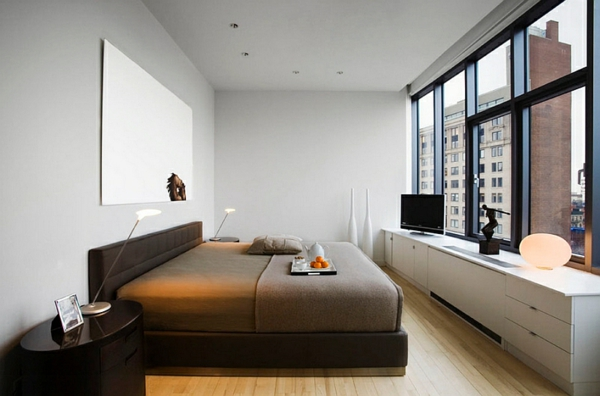 Schlafzimmer minimalistisch einrichten urban beistelltisch schwarz
