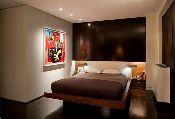 Schlafzimmer minimalistisch einrichten wanddeko gemälde