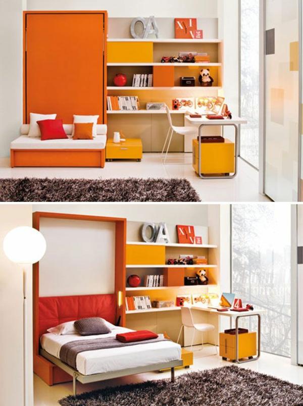 Schrankbett selber bauen orange