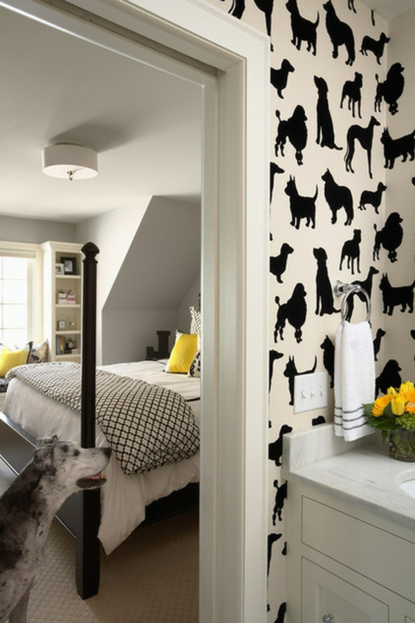 Tier Muster mit Hunden contemporary schlafzimmer