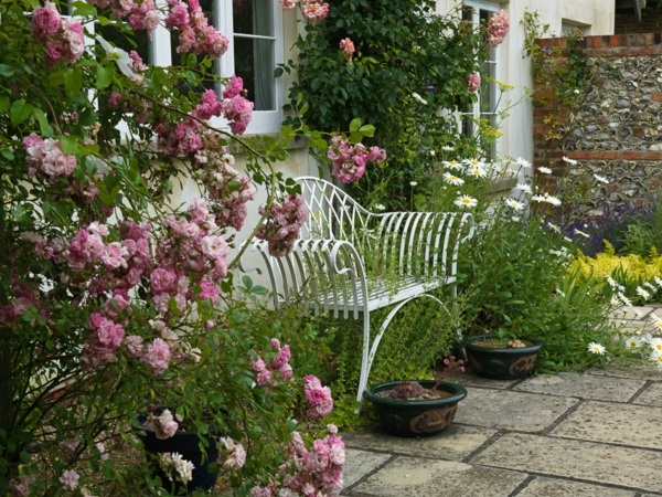 rotbraun holz haus gartenbank weiß gartenrosen rosa