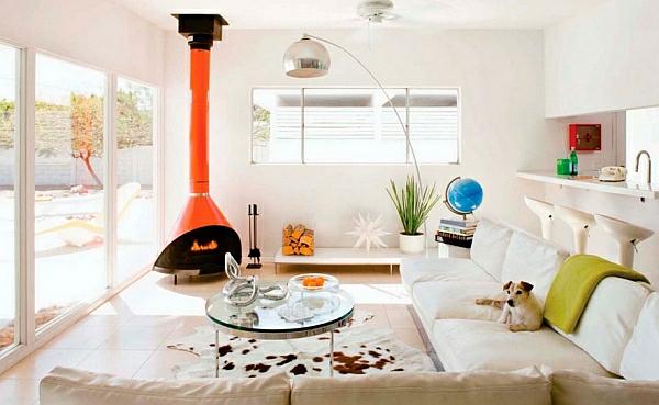 einrichtungsideen helles wohnzimmer feuerstelle rot