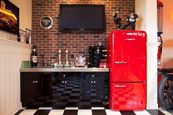 einrichtungsideen schön modern retro rot kühlschrank